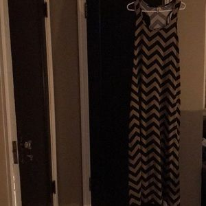 Faded Glory XL 16-18 Chevron Tank Dress Black Tan